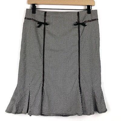 Nanette Lepore Checkered Gingham Skirt Size 4 Black White Fit and Flare Skirt