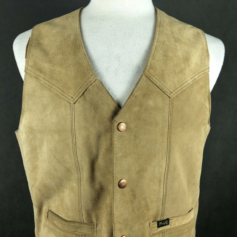 Wrangler Outerwear Vintage 70s Suede Leather Vest Large Cowhide Rodeo USA Made