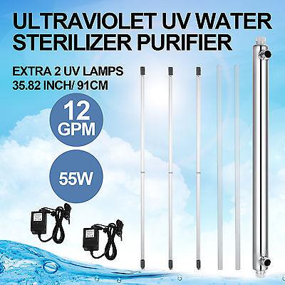 Whole House Ultraviolet Filter UV Water Purifier Sterilizer 12GPM+2 Extra Bulbs Ultraviolet Water Sterilizer