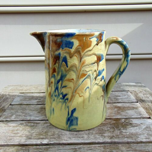 Antique Swiss French Jaspe Glazed Pottery, Poteries de Bonfol, Jura, Switzerland