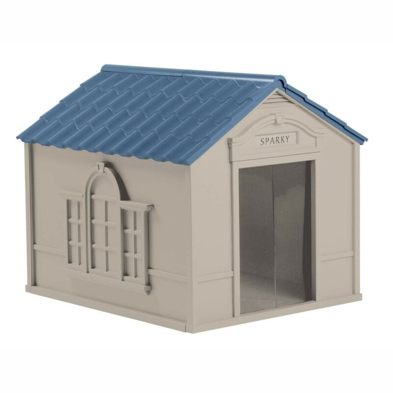 Durable Tan/Blue Indoor & Outdoor Dog Safe House for Medium and Large Breeds