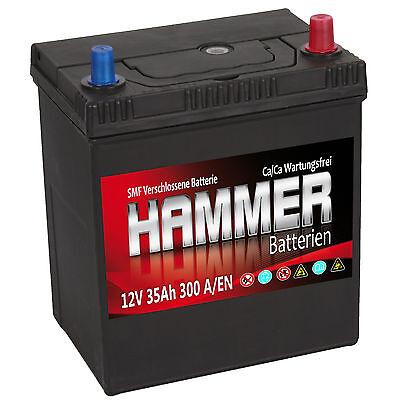 Autobatterie Hammer 12V 35Ah +Rechts Asia Starterbatterie ersetzt 32 34 36 40 Ah Duracell Starter