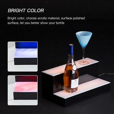 2 Step Tier 16 Led Lighted Back Bar Glowing Liquor Bottle Display Shelf Glowing
