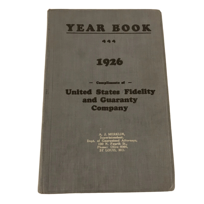 1926 BLANK Year Book Diary United States Fidelity & Guaranty St Louis Missouri