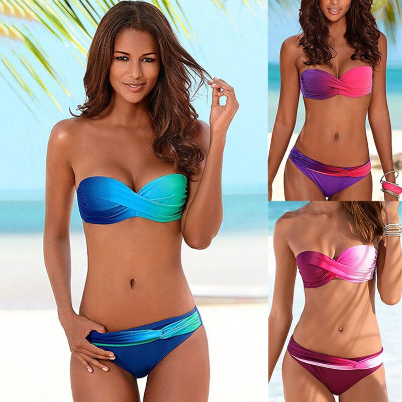 Damen Bandeau Bikini Set Pad Gepolster Badeanzug Bademode Urlaub Strandkleidung