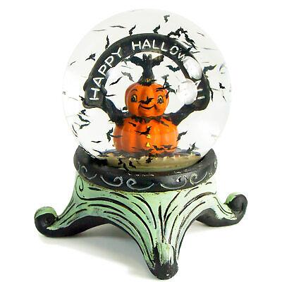 Johanna Parker Transpac Jack Lantern Bats Happy Halloween Water Globe Vntg Decor