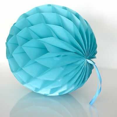 Shimmery Turquoise tissue paper Honeycomb ball - wedding party - Turquoise Party Decorations