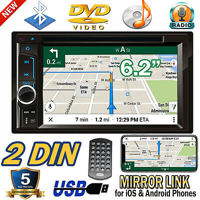 """6.2"""" Mirror Link Car DVD CD Player Double 2 Din Stereo Radio Bluetooth In-Dash"""
