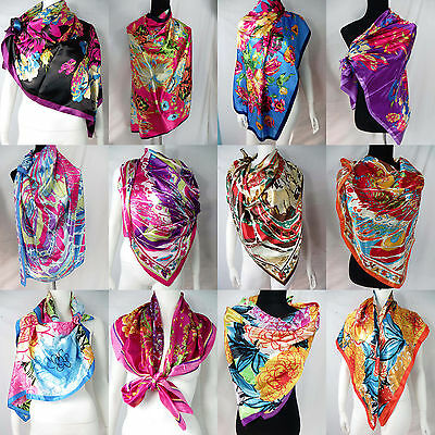 "lot of 10 wholesale  Artificial silk 39"" satin square scarves shawl wrap stole"
