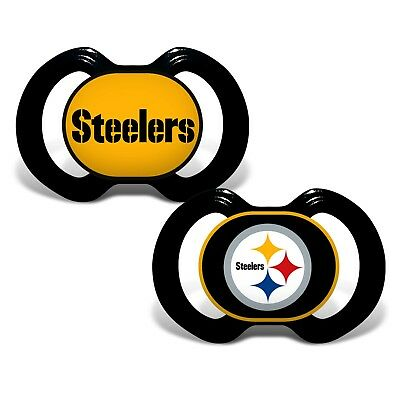 Pittsburgh Steelers Pacifiers 2 Pack Set Infant Baby Fanatic BPA Free NFL