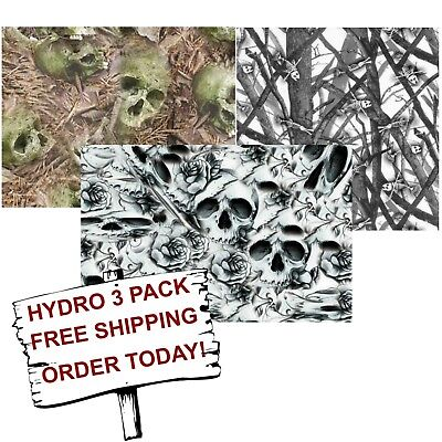 Hydrographic Film Water Transfer Printing Film Hydro Dip Skull Camo 3 Pack