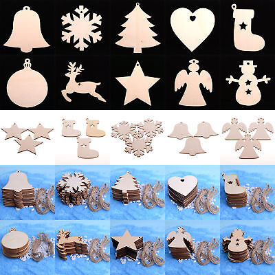 10PC Craft Wood Ornament DIY Star Snowman Christmas Tree Hanging Decoration Xmas