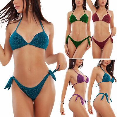 Bikini donna costume da bagno glitter triangolo lurex due pezzi TOOCOOL B20009