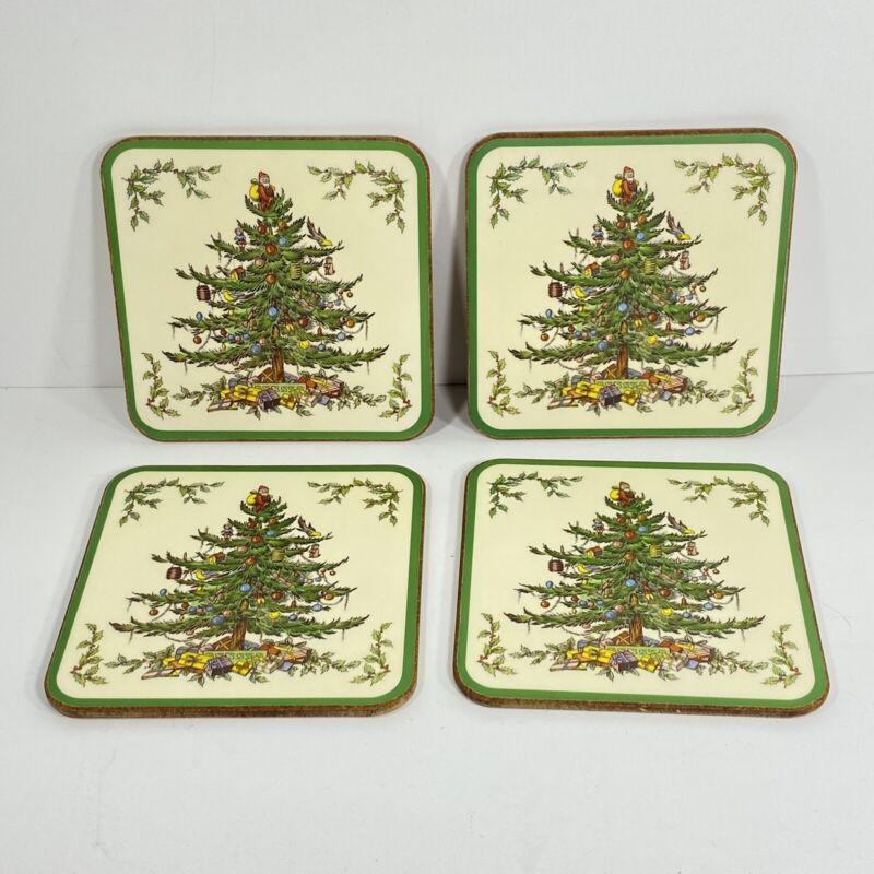 "Spode Christmas Tree Santa Qty 4 Cork Drink Coasters 4"" England Holiday Gift"