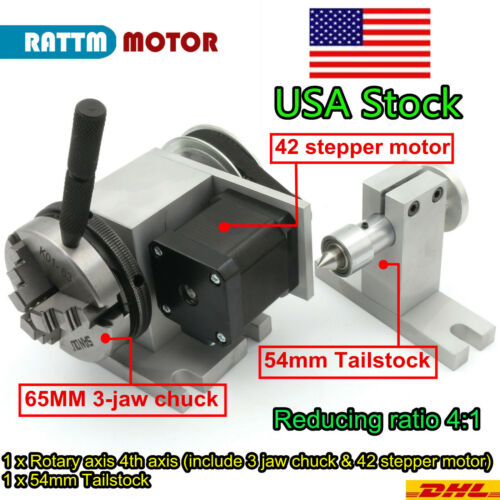 〖USA〗K11-65mm 3 Jaw Chuck Rotation A Axis 4th Axis+54mm Tailstock for CNC Router