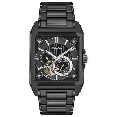 Bulova 98A180 Men's Automatic Collection Open Heart Window Black 35mm Watch