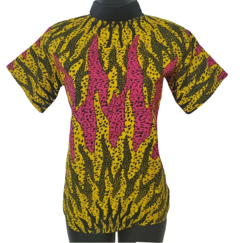 African Print Turtleneck Pink and Yellow Blouse