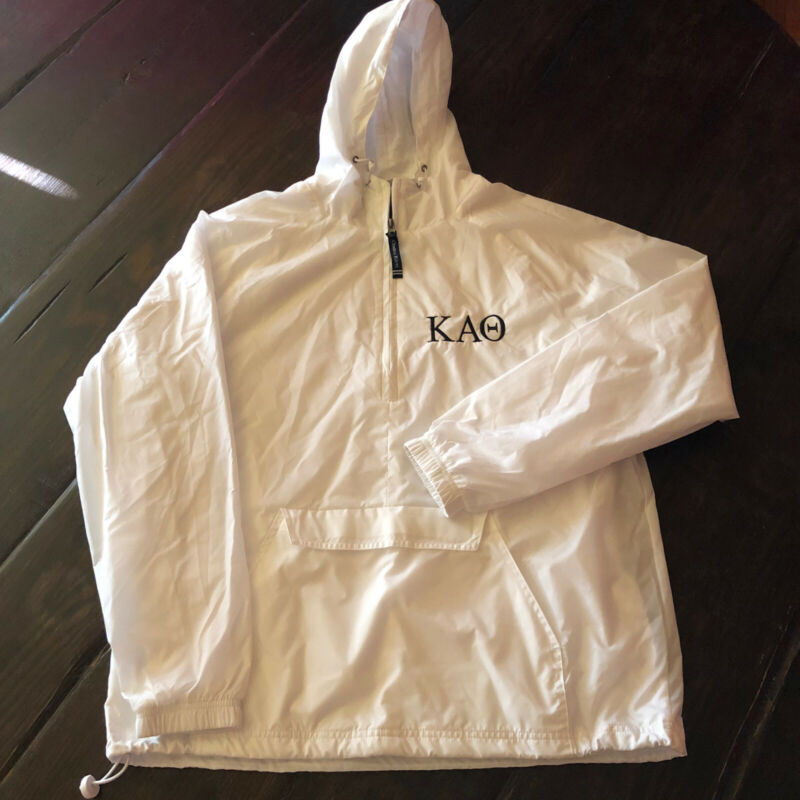 Kappa Alpha Theta White Charles River Windbreaker Jacket NWT Size Small