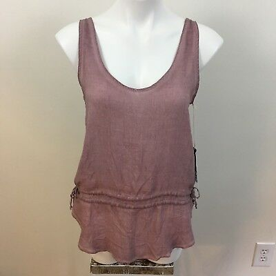 Young Fabulous & Broke Eggplant  Sheer Sleeveless Tye Waist Blouse Size Small Fabulous Sheer