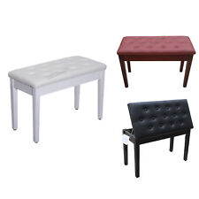 FoxHunter Wood PU Leather Piano Duet Bench Seat Stool With Storage Compartment