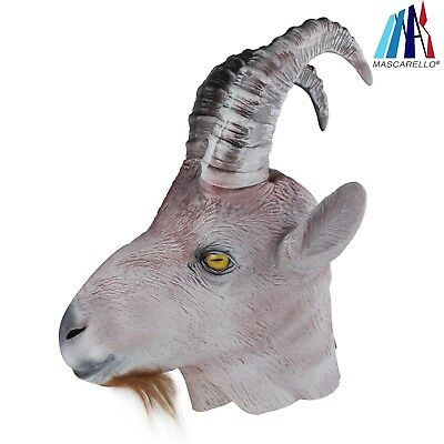 Antelope Goat With Long Horn Latex Animal Head Mask Halloween Carnival Costume