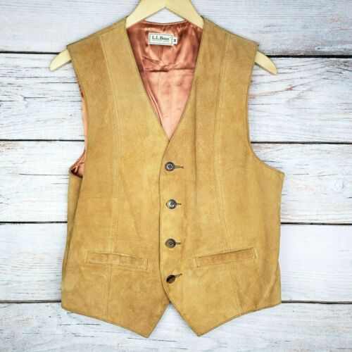 Vtg L.L. Bean Suede Leather Vest Men
