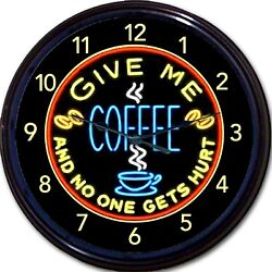 Coffee Cup Mug Caffeine Wall Clock Give Me Coffee No One Gets hurt New 10