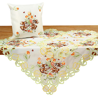 Easter Table runner Doily Tablecloth Cushion cover White Gre