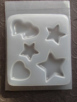 Resin Mold Hearts & Stars 45mm 30mm & 25mm Puffed Flat Heart Jewelry Plastic - Flat Heart Mold