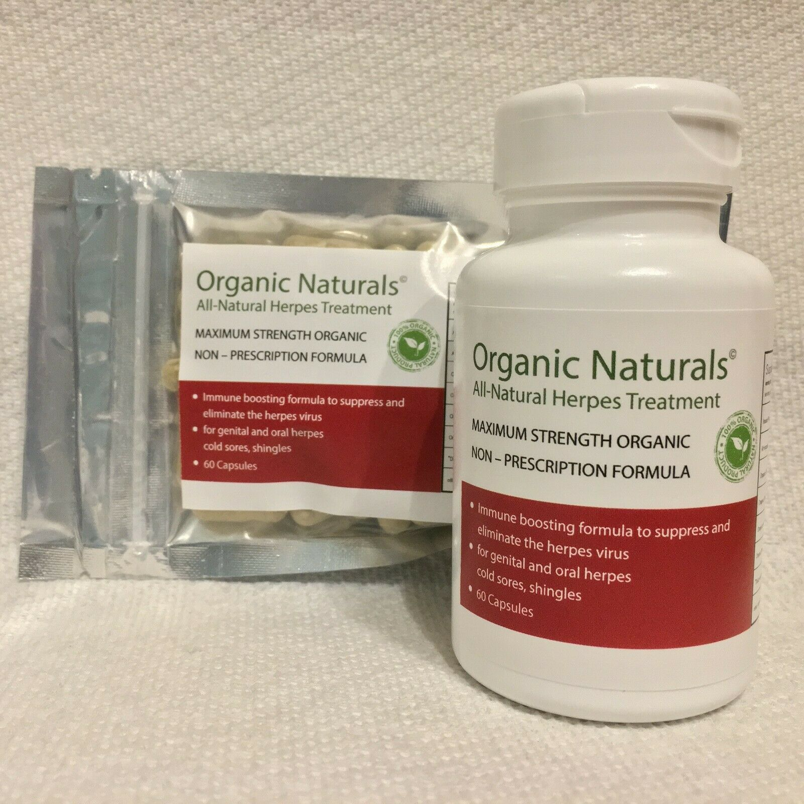 All-Natural Herpes Treatment Capsules - by Organic Naturals - 60 Capsules