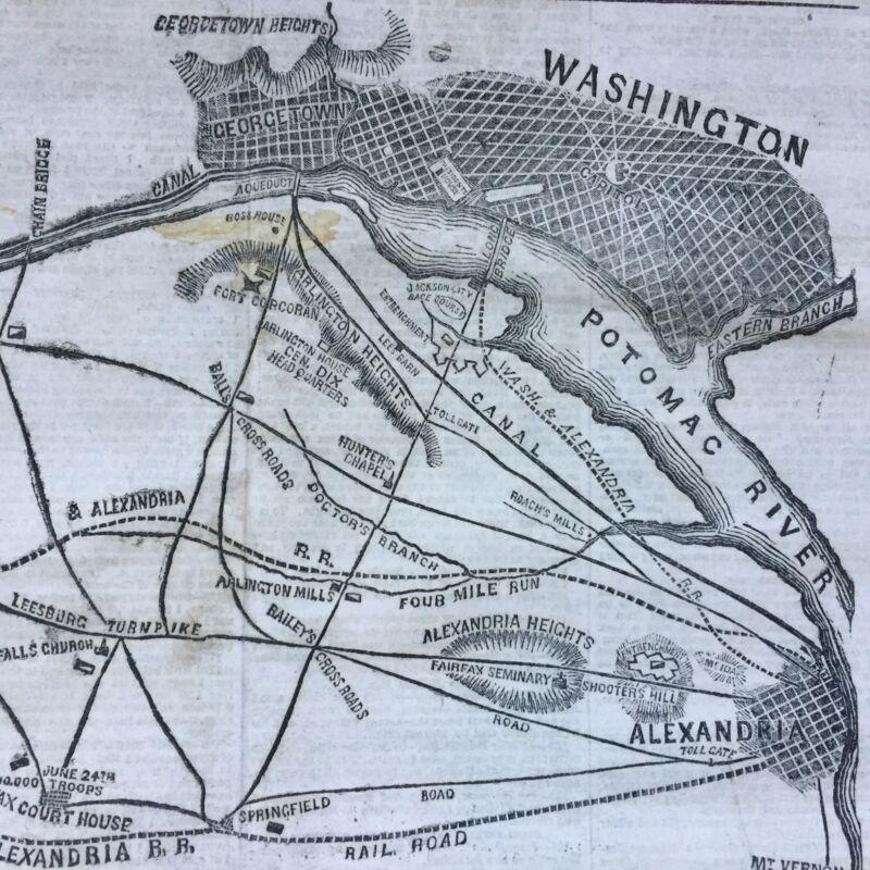 1861 CIVIL WAR newspaper w huge POSTER MAP WASHINGTON DC to MANASSAS Bull Run