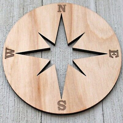 Compass Nautical Ship Unfinished Wood Laser Cutout Cut Out Shapes Crafts Sign - Unfinished Wood Signs