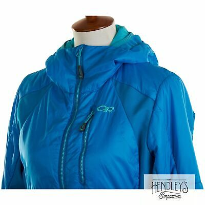 Womens OUTDOOR RESEARCH Jacket M Electric Blue Nylon Primaloft CATHODE HOODED