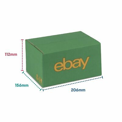 "25 x eBay Branded Packaging Cardboard Box (7.87"" x 5.9"" x 3.93"") Green/Yellow"