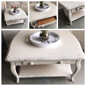 Refinished white plank wood table