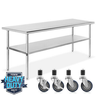 Stainless Steel Commercial Kitchen Work Food Prep Table W 4 Casters - 30x72