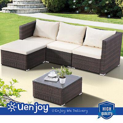 5PCS Rattan Wicker Sofa Set Patio Garden Sectional Cushioned Outdoor Furniture