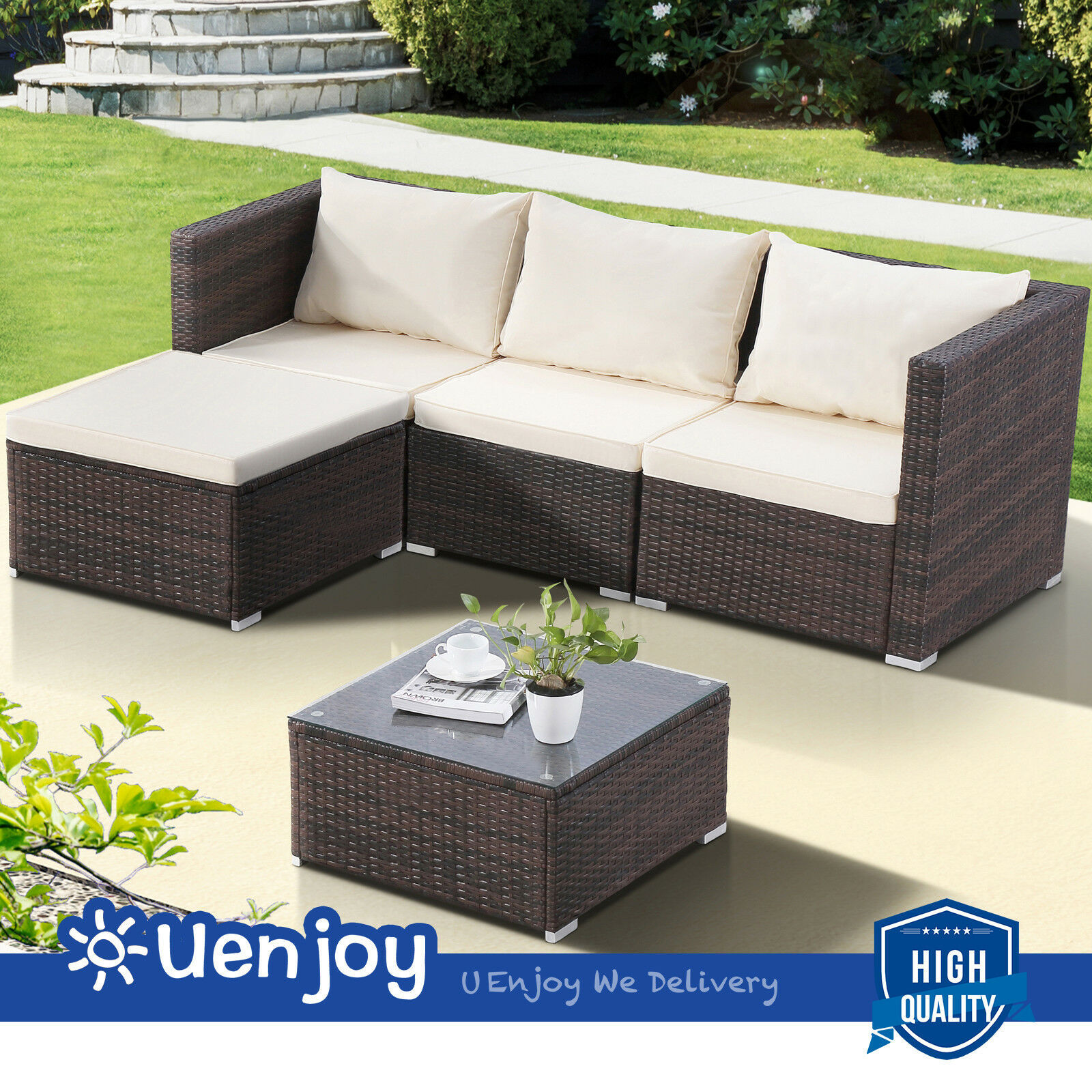 Brown 5pc Rattan Furniture Wicker Patio Outdoor Sofa Set Couch With Cushion
