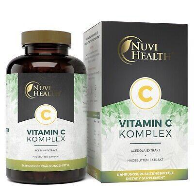 Vitamin C Komplex - 240 Kapseln (vegan) Acerola + Hagebutten-Extrakt Natürlich