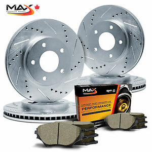 2008-Dodge-Ram-1500-5-Lugs-ONLY-Silver-Zinc-Slot-Drill-Rotor-Max-Pads-F-R