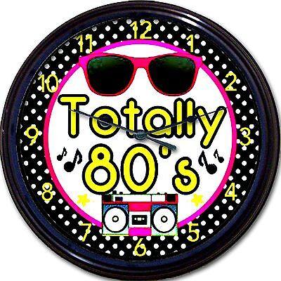 Eighties 80s Eighties Wall Clock Sun Glasses Tape Deck Music Notes New 10