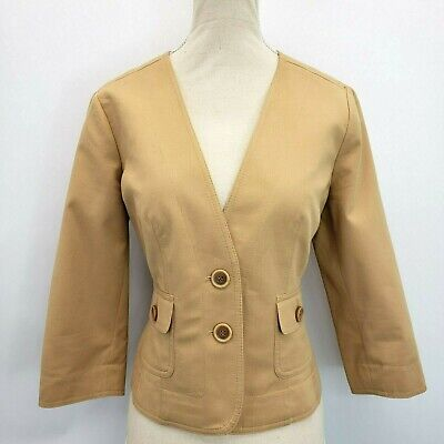 Kasper Petite Cropped Camel Jacket Size 4P Collarless Ribbed 3/4 Sleeves Blazer