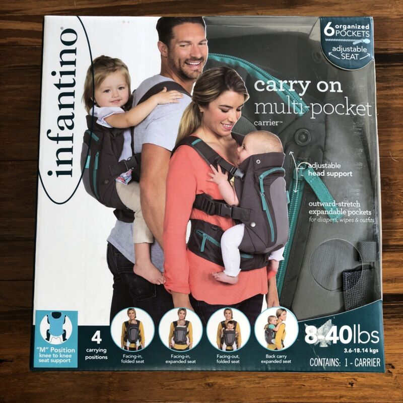 Carry On Multi Pocket Infantino Baby Carrier 8 - 40 LBs