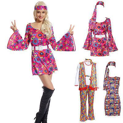 Hippie Kostüm Flowerpower Hippie Kleid Blumen Disco Kostüm für Männer/ (Frau Hippie Kostüme)