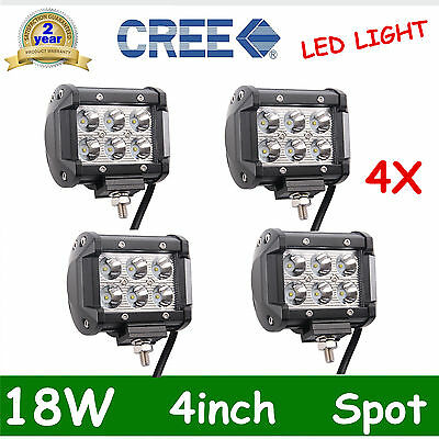 4pcs 4inch 18W LED Work Light Bar 4WD Spot Beam Offroad Driving Fog Lamp ATVSUV