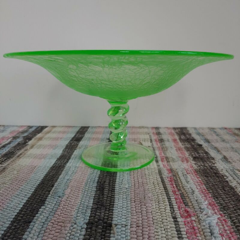 Tiffin apple green pedestal compote art glass