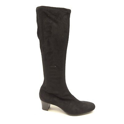 New Munro Womens Black Micro Suede Pull On Sock Tall Riding Boot US 7.5 Narrow