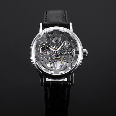 Mechanical Hand Winding Wound Mens Watch Manual Silver Skeleton Black Leather