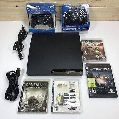 Ps3 Slim CECH-2501A 160gb Bundle 4 games cords & 2 controllers TESTED VER 4.82