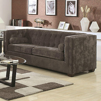 SLEEK CHARCOAL GRAY GREY CHENILLE TUFTED SOFA COUCH LIVING ROOM FURNITURE  Contemporary Chenille Living Room